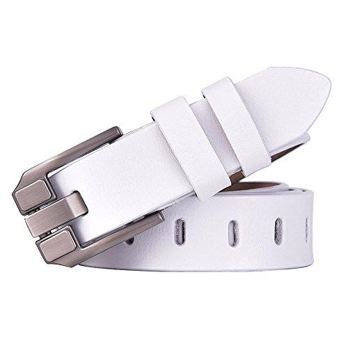 Genuine White Belt (Talleffort Women's Flower Genuine Cowhide Leather Jeans Belts (Waist Under 36'', White 11))