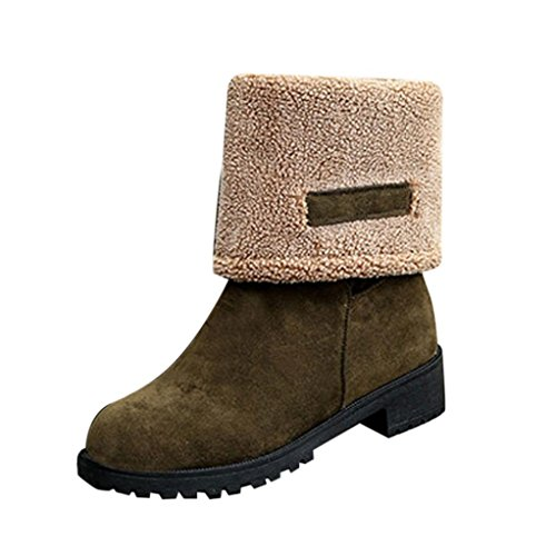 DEESEE(TM) Ladies Women Boots Flat Winter Warm Shoes Short Snow Boots (US 4.5, Green)
