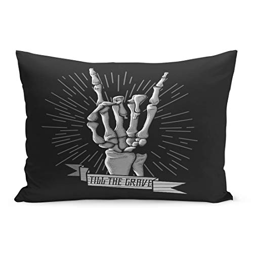 Semtomn Throw Pillow Covers Band Rock Roll Skeleton Hand Music Hard Hipster Symbol Rocker Arm Badge Pillow Case Cushion Cover Lumbar Pillowcase Decoration for Couch Sofa Bedding Car 20 x 26 inchs]()