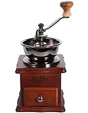 KUIKUI - Retro Design Manual Coffee Bean Grinder, Classic Wooden Hand Crank Spice Grinder Machine, Adjustable Coarseness Pepper Herb Mill, Coffee Maker, Household Home Kitchen Food Office Gift