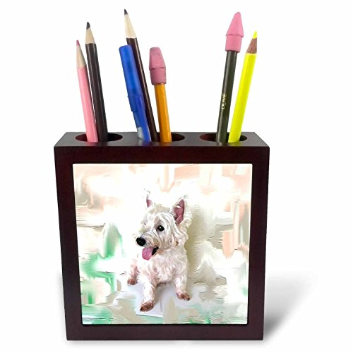 (3dRose ph_4015_1 Westie Tile Pen Holder, 5-Inch)