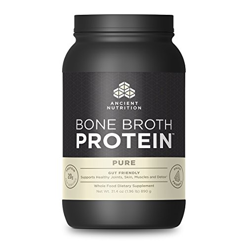 Ancient Nutrition Bone Broth Protein Powder, Pure Flavor, 40 Servings Size, 31.4 Ounce
