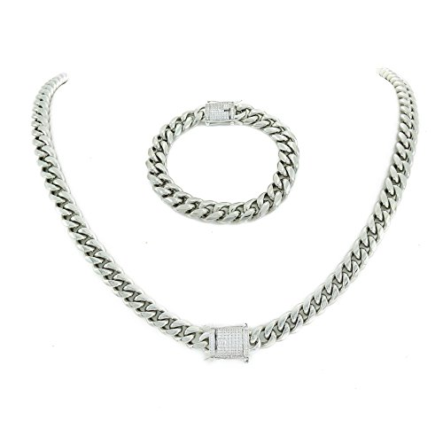 & Bracelet Set 925 Silver 1ct Lab Diamond Clasp 14k White Gold Over Stainless Steel ()