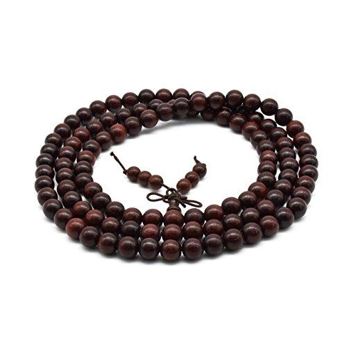 Zen Dear Unisex Natural African Blood Red Sandalwood Prayer Beads Tibetan Buddhism Mala Bracelet Necklace