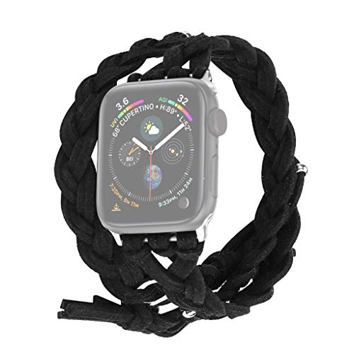 Watch Band for Apple Watch 42mm/44mm Series 1/2/3/4 Weave Replacement Watch Bracelet for Women/Men (Free Size, Black)