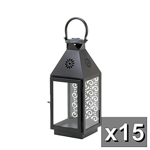 Lana45 Set of 15 Holder Lantern black Malta Candle holder Lantern light wedding table centerpieces (Malta Lantern)