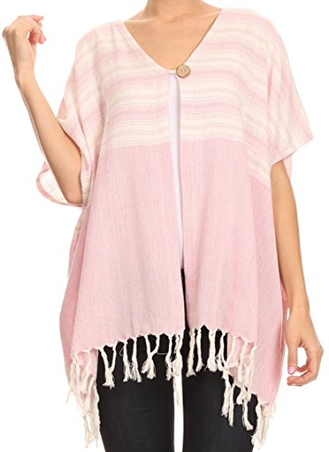 Sakkas NP22992 - Lisk Wide Mid Length Square Knit Fringe Open Button Up Shrug Cover Wrap - Pink - - Women In India