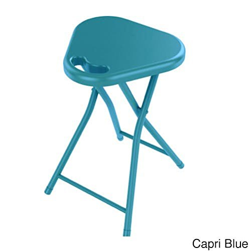 Set of 4 Blue Folding Stool with Handle Heavy Duty Folded Stool Chair Indoor Outdoor Portable Sitting Stool for Home Garage Picnic Office Household Lightweight Durable Quality Metal, Plastic by MISC