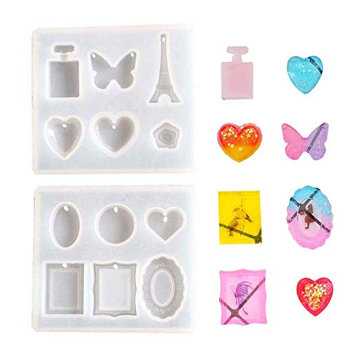 Daimay 2PCS Jewelry Casting Molds Pendant Making Silicone Mold Resin Tools Set with Hanging Hole Assorted Styles for Pendant Jewelry Making - Style 1