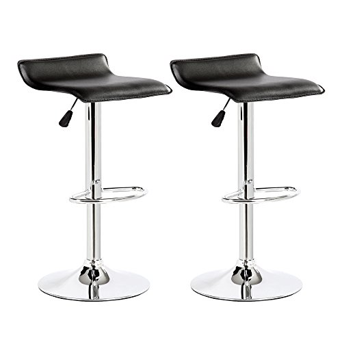 Belleze Set of 2 Leather Modern Adjustable Swivel Barstools Hydraulic Chair Bar Stool, Black
