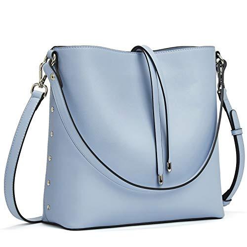 MANTOBRUCE Women Leather Handbags Designer Shoulder Tote Purse Casual Crossbody Bucket Bags (Leather Bucket Bags Handbags)