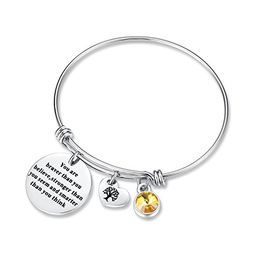 (November Birthstone You Are Braver Than You Believe Think Charm Bracelet Jewelry with Heart Tree of Life, Birthday Gifts for her mom sister mother daughter friendship wife christmas day gifts (Topaz))