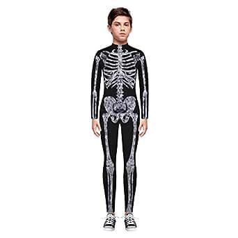 Amazon.com: Disfraz de Halloween con estampado de esqueleto ...