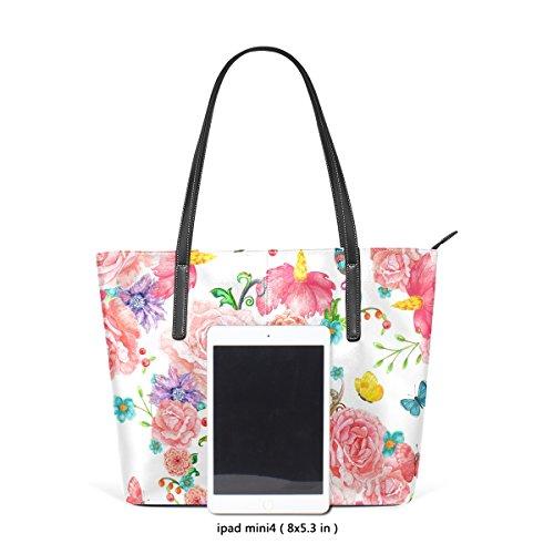 COOSUN Schöne Blumen und Schmetterlinge PU Leder Schultertasche Handtasche und Handtaschen Tasche für Frauen