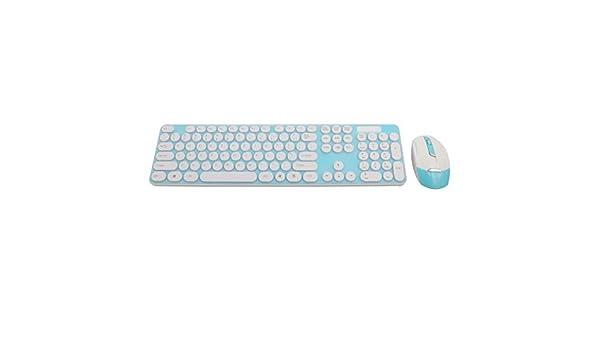 Amazon.com: DealMux PC botão redondo 2.4G Wireless Optical Mouse Teclado Teclado Film Kit Azul Teal: Computers & Accessories