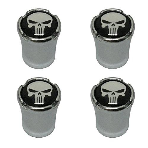 Modern Design 4pcs White Punisher Skull Skeleton Head Logo Chrome Auto Car Wheel Tire Air Valve Caps Tire Decoration (Skull Head Car)