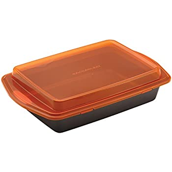 Rachael Ray 57994 Nonstick Bakeware with Grips Nonstick Baking Pan With Lid and Grips/ Nonstick Cake Pan With Lid and Grips, Rectangle - 9 Inch x 13 Inch, Gray
