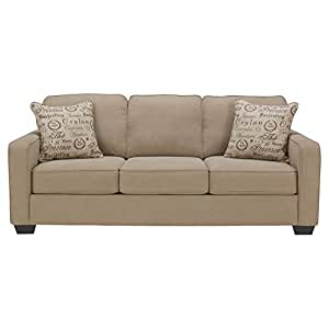 Ashley Furniture Signature Design - Alenya Sleeper Sofa with 2 Throw Pillows - Queen Size - Vintage Casual - Quartz