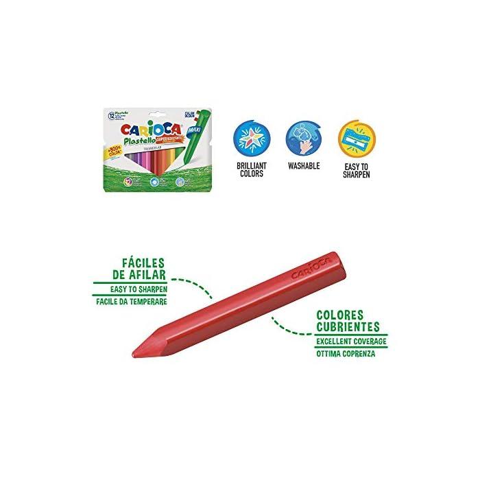 41Vm9wN kZL Contenido: 12 rotuladores Joy punta fina, 12 lápices de colores Tita, 12 plasticeras Plastello Maxi Triangular, 3 pegamentos de barra y unas tijeras con la punta redonda RotuladoresJOY: El clásico rotulador de la gama CARIOCA de punta fina. Tinta súperlavable no tóxica, fácil de lavar de la piel con agua sin jabón. Lápices 12 TITA: Kit de 12 lápices de colores con mina de Ø 3 mm super resistente a las caidas. Muy fácil de sacar punta. Su cuerpo hexagonal es muy fácil de agarrar y no se desliza encima de la mesa