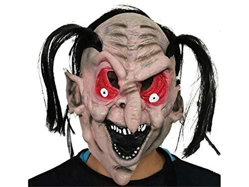 Yyanliii Divertente Maschera Strega Horror Con I Capelli Neri Maschera Spaventoso Halloween Tricky Per Masquerade (Grigio)