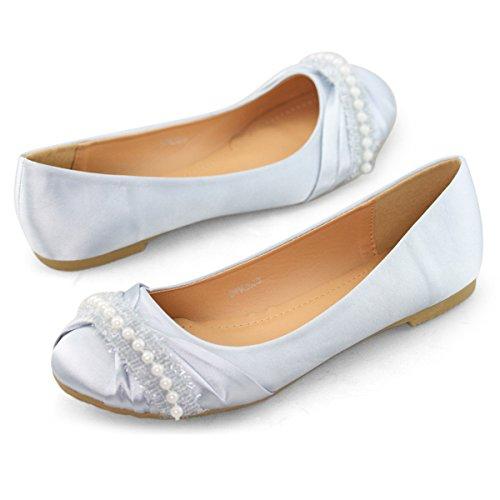 SHOEZY Women's Satin Ballet Flat Round Toe Wedding Bridesmaid Shoes Pearls Comfort Silver US 9.5 (Half Size Smaller)