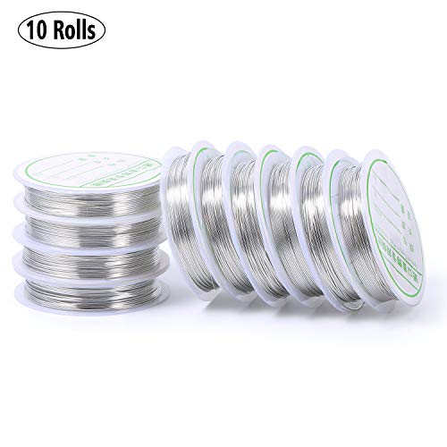 Bare Brass Wire Silver Tone Plated Tarnish Resistant Wire Supplies for Jewelry Making,21 Gauge(131-Feet/43-Yard)