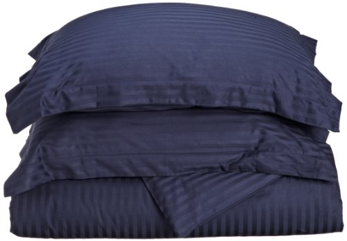 Superior 100% Premium Combed Cotton, Soft Single Ply Sateen, 3-Piece Duvet Cover Set, Stipe, King/California King - Navy Blue ()