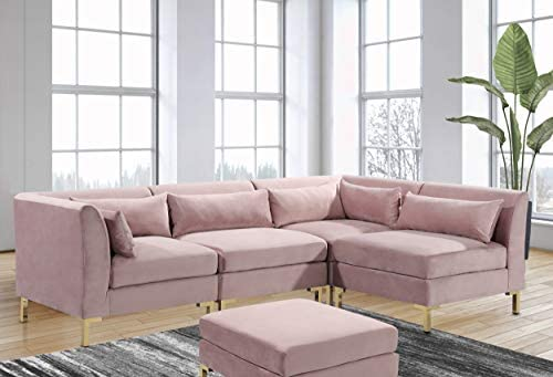 Iconic Home Girardi Modular Chaise Sectional Sofa Velvet Upholstered Solid Gold Tone Metal Y-Leg