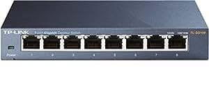 TP-Link 8 Port Gigabit Ethernet Network Switch   Ethernet Splitter   Sturdy Metal w/Shielded Ports  Plug-and-Play   Traffic Optimization   Unmanaged (TL-SG108)