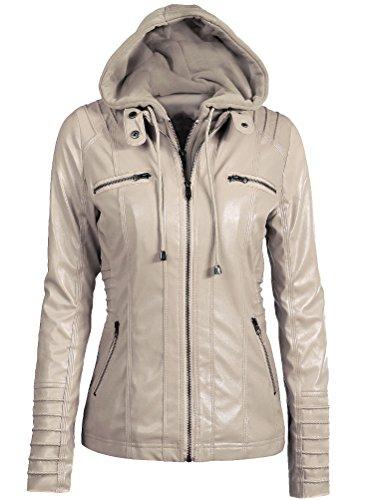 Giacchetto In Slim Donna Albicocca Corto Jacket Ragazza Zip Giacca Pelle Hooded Giacche Mallimoda FqZ48wxfw