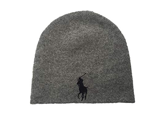 Polo Ralph Lauren Men`s Merino Wool Watch Cap (Heather Grey(PP0090-020)/Black, One Size) ()