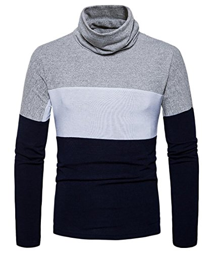Nice Emastor Men Autumn Long Sleeves Turtleneck Stripes Casual Loose Stretch Knit Sweater free shipping