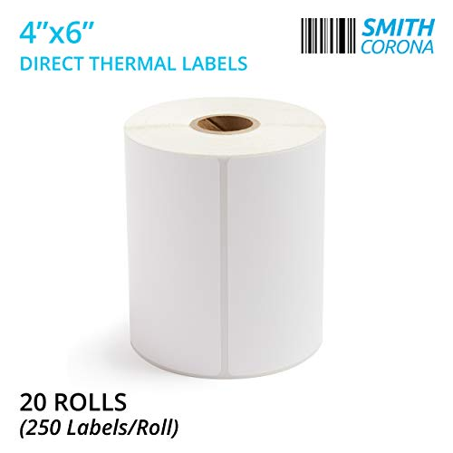 Smith Corona - 20 Rolls of 4x6 Direct Thermal Labels (250 Labels/Roll) - Perfect for Zebra Printers - Made in The USA | 5000 Labels Total ()