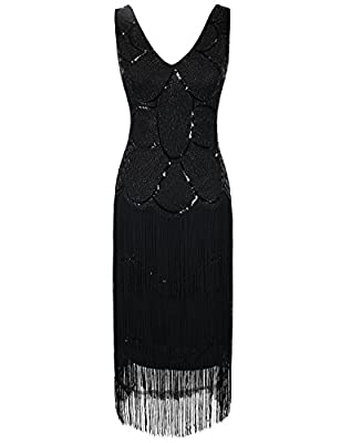 PrettyGuide Women's Flapper Dress Art Deco Sequin Tiered Fringed 1920s Gatsby Dress