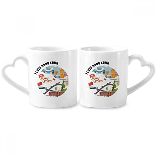 Hong Kong Famous Cartoon Places Couple Mugs Ceramic Lover Cups Heart Handle 12oz Gift