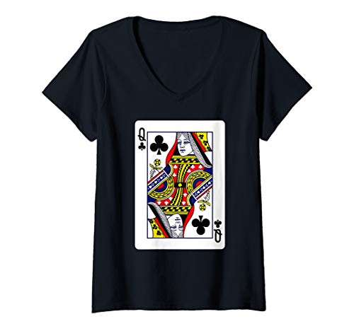 (Womens Queen Of Clubs Playing Card Group Costume Poker Player V-Neck T-Shirt)