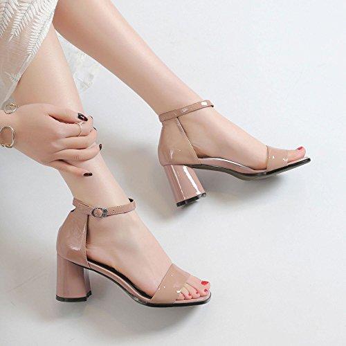 Talons en Ouvert à Pink DKFJKI Sauvage Boucle Sandales Cuir Talons Tête Bout Hauts à Ronde Chaussures Dames Mode OvgRwqU