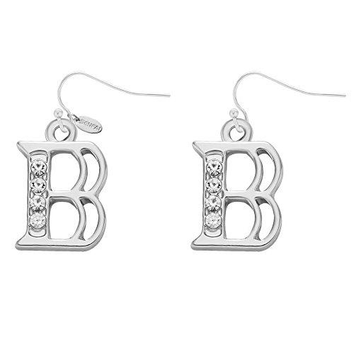 SENFAI Alloy 26 Alphabet English Letters Crystal Initial Charms Earrings Rhodium Plated (B)