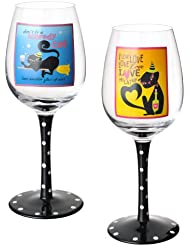 Grasslands Road Pretty Wicked Black Cat Wine Glasses Two Styles Set Of 4