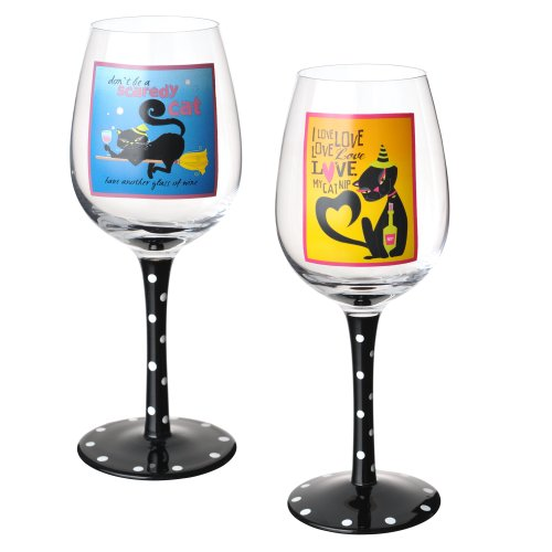 Black Cat Wine Glasses