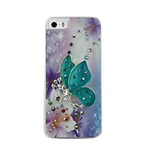 GOG Fairy Butterfly Pattern Rhinestone Jewelry Hard Case for iPhone 5/5S