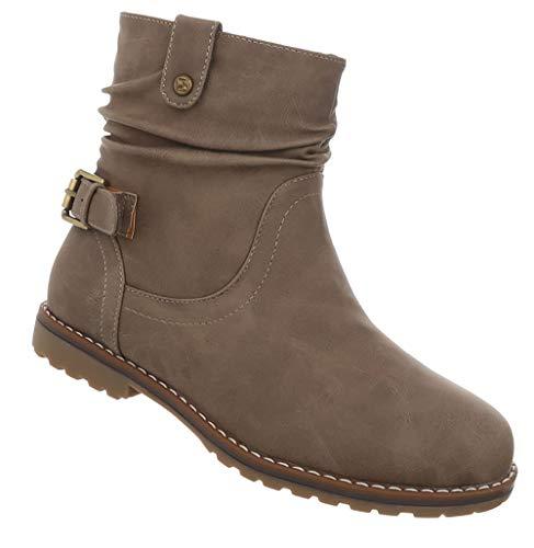 Stiefelette Blockabsatz Boots 41 Booties Elegante Hellbraun Robuste Sohle Damen Kurze Stiefel Schnalle Flache 36 aqw7a5dS