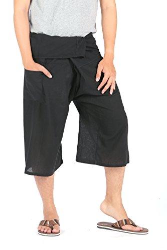 CandyHusky Cotton Drawstring Crop Capri Fisherman Loose Casual Yoga Pants Shorts (3/4 Thai Fisherman Pants)