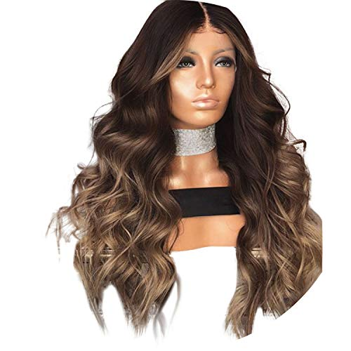 Human Hair Lace Front Wigs Ombre Layered Color Wavy Brazilian Remy Hair Lace Wigs for Black Women 13x4 Pre Plucked Qearl,Ombre,14inches,180% ()