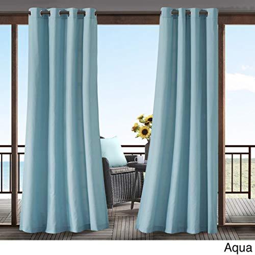 1pc 95 Aqua Color Gazebo Curtain Single Panel, Outdoor Pergola Drapes Porch Deck Cabana Patio Screen Entrance Sunroom Lanai, Green Blue Solid Color Pattern Rugby Colors Outside