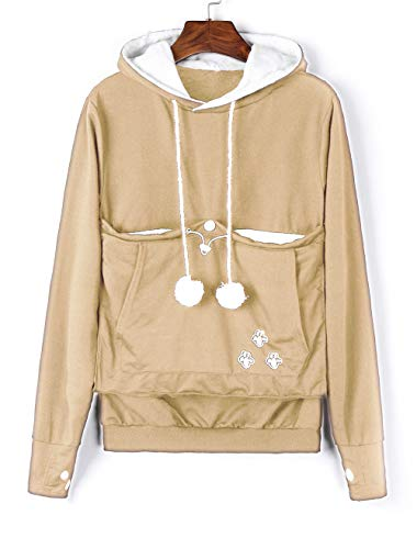 Women S Big Kangaroo Pouch Hoodie Little Pet Dog Cat Carrier Sweatshirts Beige