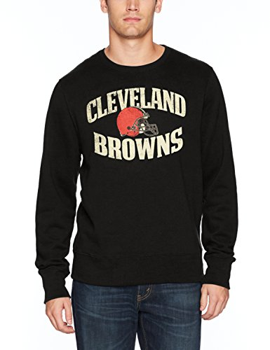 - NFL Cleveland Browns Men's OTS Fleece Crew Distressed, Jet Black, Small