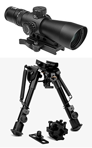 M1SURPLUS Tactical Optics Combo Kit with Mark III 3-9x42 Illuminated Rifle Scope + Quick Deploy Compact Bipod - fits Weaver Picatinny Mossberg 715t S&W 15-22 Ruger SR22 Precision Rifle