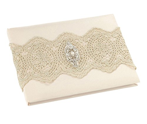Lillian Rose Vintage Gold Lace Ivory Satin Wedding Guest Book