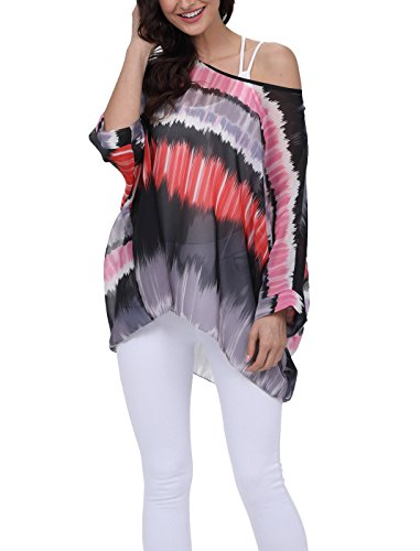 iNewbetter Womens Floral Batwing Sleeve Beach Loose Blouse Tunic Tops 280